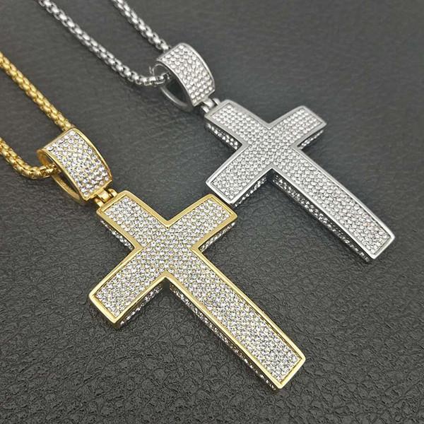 Grande Hip Bling Cruz 3D Hop para fora congelado religiosa colar de ouro pingente banhado a prata para homens moda jóias