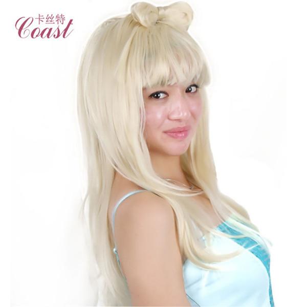 Гага с таким же белым бантом парик моды длинные прямые волосы популярны в Европе и Америке горячий парик