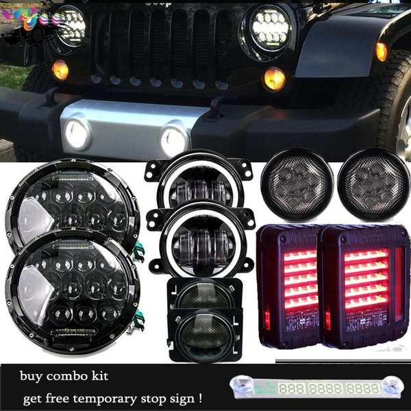 """7 Inch 75w LED Headlight 4"""" Fog Front Turn Side Marker Tail Lamps For 07-17 Jeep JK"""