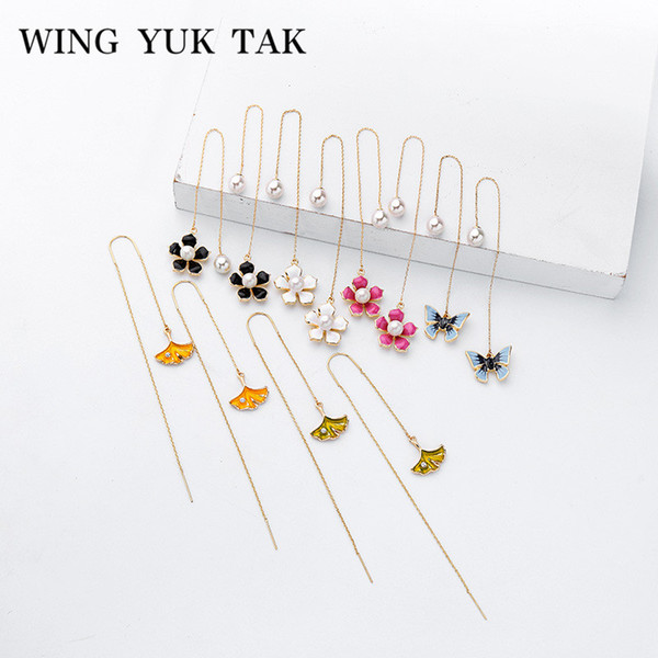 wing yuk tak Enamel Flower Long Chain Dangle Earrings For Women Bohemian Blue Butterfly Simulated Pearl Earrings Party Jewelry