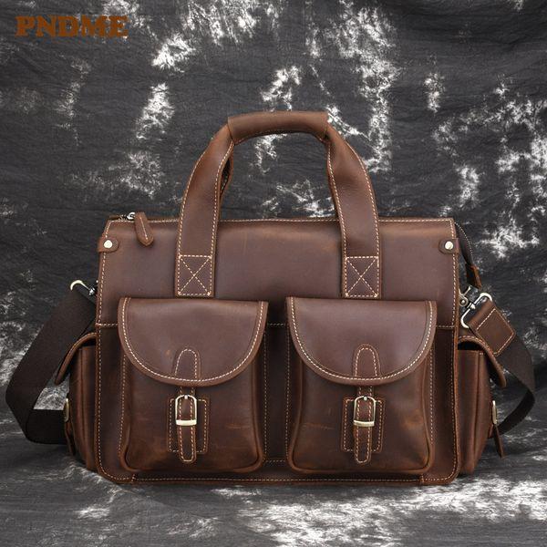 PNDME high quality crazy horse leather men's briefcase vintage casual simple multi pocket genuine leather office laptop bag