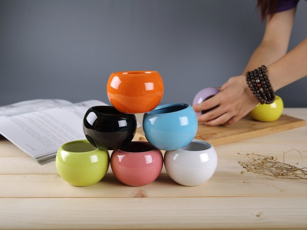200PCS Modern Ceramic Pots Succulents Flower Pot Small Ball Round White Porcelain White Color Mini Creative Planter