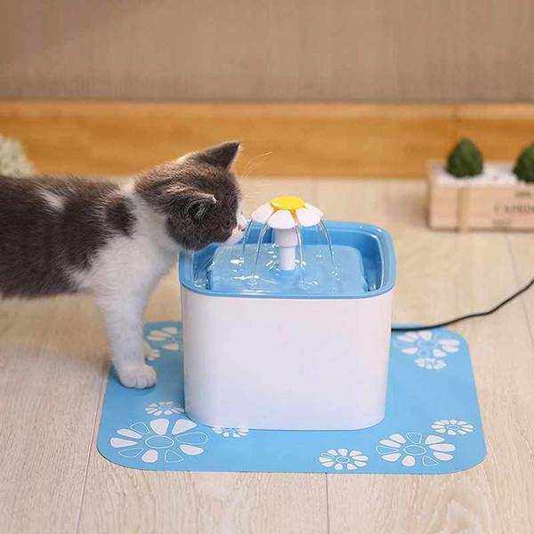 Pet Fountain Water Dispenser Здоровый Гигиенический Питьевой Фонтан Цветок Автоматическая Электрическая Супер Тихая Вода Синий Коврик