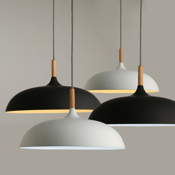Lâmpadas de Pingente Moderno e minimalista E27 Abajur De Alumínio De Madeira Pendurado Luzes Pingente 110 V 220 v para Art Fashion Decor Luminaire