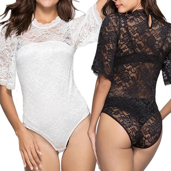 Beauty Garden 2019 Hot Sales Lace Bodysuits Sexy Lingerie Women Sexy Bodysuit White/Black Mesh Bodysuit Club Jumpsuit Beach Bodysuit S-XL