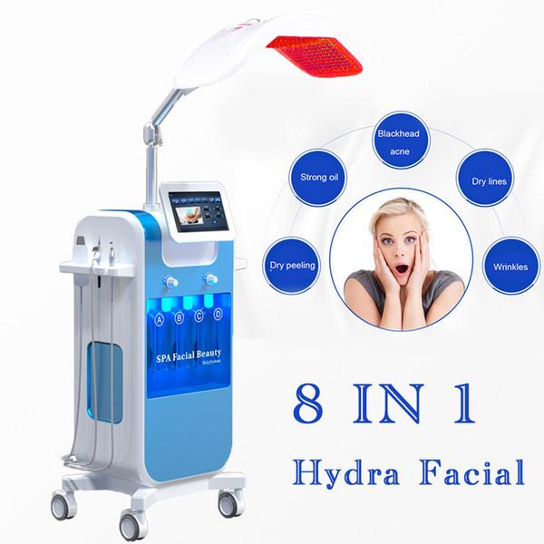 8en1 Vacío Limpieza de la cara Hidro Dermabrasión Agua Oxígeno Jet Peel Machine Limpiador de poros Cuidado facial Máquina de belleza PDT LED 7 color