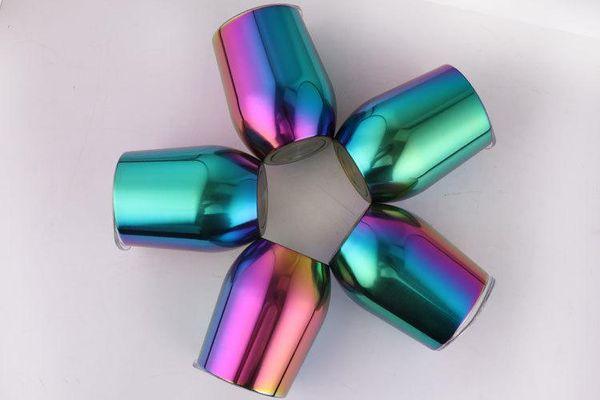 Aço inoxidável 9 oz tumbler Garrafa de Água Gradiente Rainbow Copos com tampa de canecas de café de Vácuo Isolado Caneca De Cerveja copos De Vinho partido Copa Do Ovo