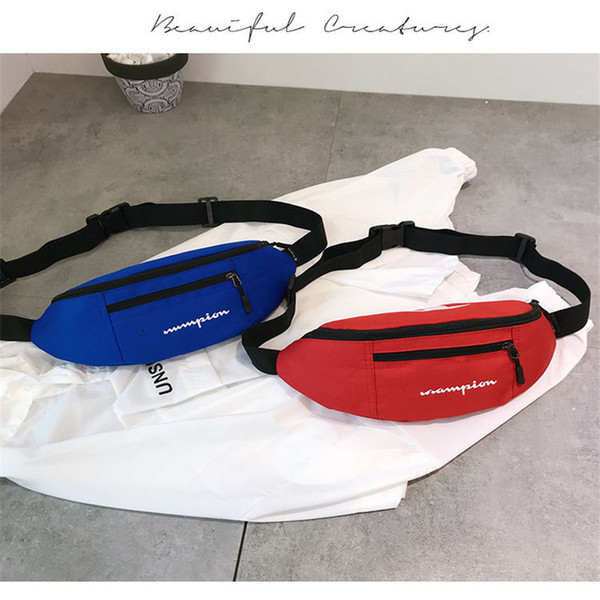 Fashion Fanny Pack Unisex Champions Waist Bag Solid Color Brand Zipper Belt Shoulder Bags for Beach Travel Shopping Packs Phone Wallets 2019