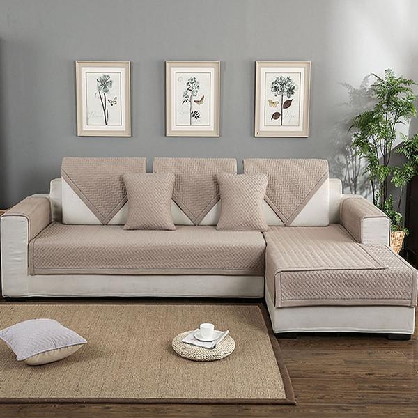 Sofá Esteras de algodón Funda de sofá antideslizante Cubierta de múltiples tamaños Antideslizante Sofá decorativo para sala de estar Diseño simple 1PC