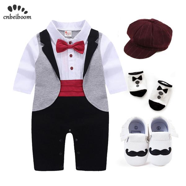 Nuovo bambino nato Tuxedo regola i pagliaccetti l'insieme dei vestiti per i ragazzi diserbo manica lunga di compleanno vestiti convenzionali del partito di cotone vestito
