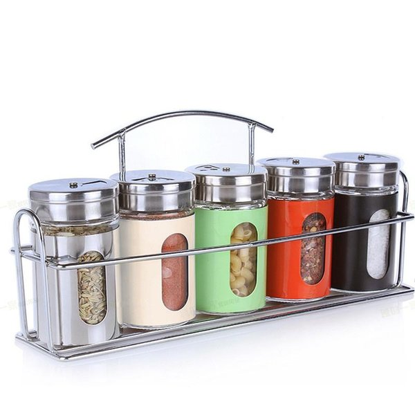 New 6pcs/set Kitchen Storage Jar Glass Condiment Bottle Spice Jar Set With Spice Rack Rotating BBQ Seasoning Boxes Bottle