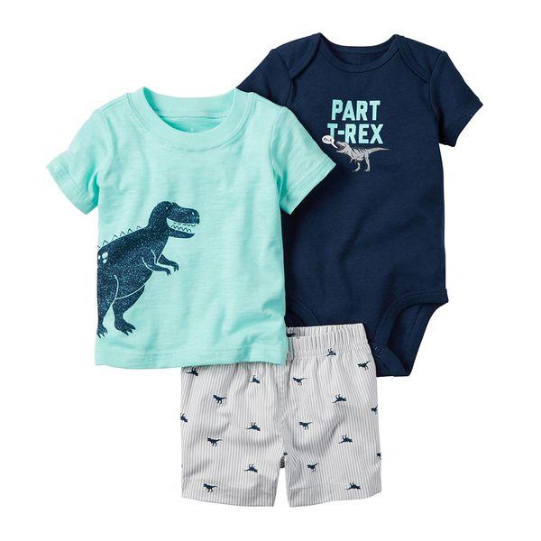 Summer Baby Boy Girl Clothes Set Newborn Clothing O-neck Cartoon Dinosaur T-shirt+shorts+romper Infant Outfits New Born Costume Y19061303
