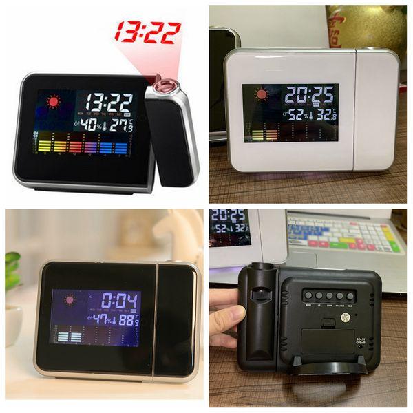 Watch Time Projecteur multi fonction Réveils numérique écran couleur Horloge de bureau Affichage Météo Calendrier Temps FFA3287 décor à la maison
