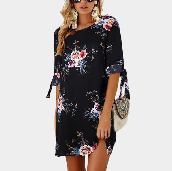 Femmes été Bohème Robe Dames Maxi Casual Floral Plage Boho Coton Robes Vintage Fleur Longue Femme Élégant Sun Robe