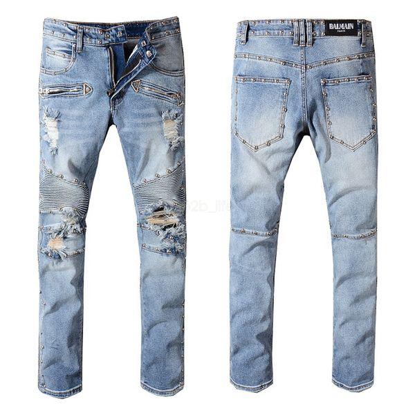 Men B Designer Ripped Jeans Hole Distressed striped Zipper Jeans Trousers Slim Hip Hop Biker Denim Lightweight Skinny Pants LJJA2568
