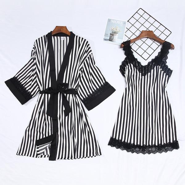 Feier 2 Piece Lace Stripe Pijamas Set Women High Quality Faux Silk Sleepwear Sets Sexy Sling Night Robes Thin Summer Night Dress