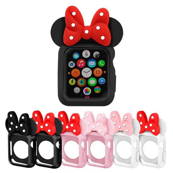 Apple Assista Série 4 tampa Flexível Colorido TPU + Capa de silicone Orelhas de Rato 3D Caso Caráter Dos Desenhos Animados Caso Bolinhas Polka Dot de 40mm 44mm
