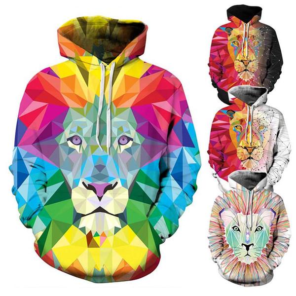 мужская мода толстовка с капюшоном 2019 новые поступления 3d принт пуловер с капюшоном красочные блоки лев пальто с капюшоном Тонкая мужская одежда спортивные костюмы