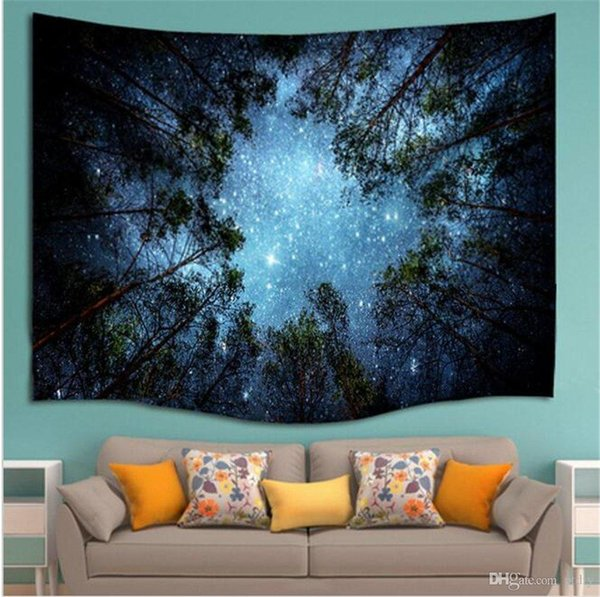 Forest Starry Tapestry Wall Hanging Galaxy Tapestry Hippie Milky Way Tree Night Sky Mandala Bohemian Tapestry for Bedroom Dorm Decor
