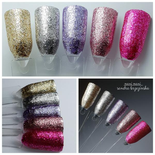 Brillo UV LED Soak Off Gel Polish Set Platinum Nail Manicure Kit Pintura de gel de lámina brillante de larga duración