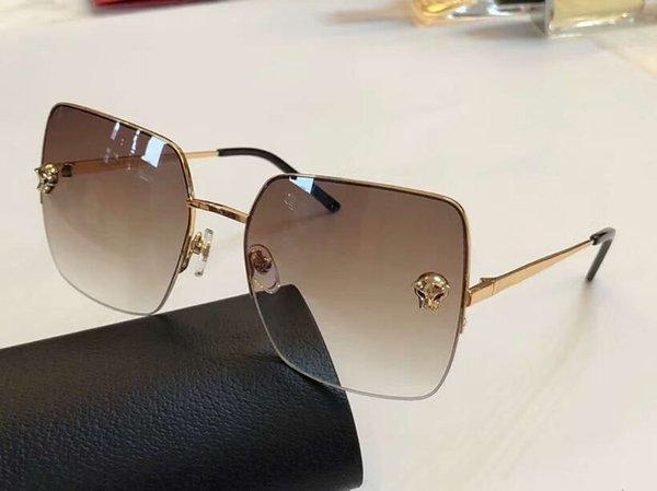 Luxury Women 0121 Square Sunglasses Gold/Brown Gradient Smoke Glasses gafas de sol New wth Box