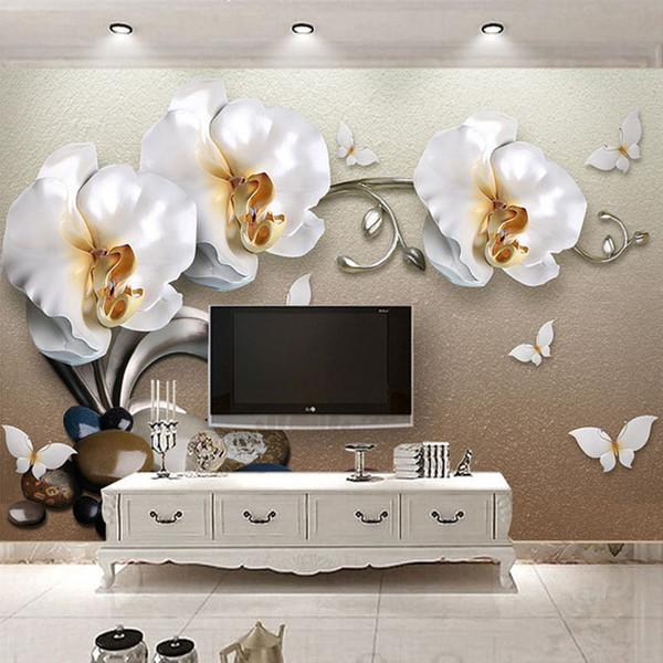 Haute Qualité 3D Stéréo Or Bijoux Papillon Orchidée De Luxe Papier Peint Hôtel Salon TV Toile de Fond Mur Décor Fleur 3D Mural