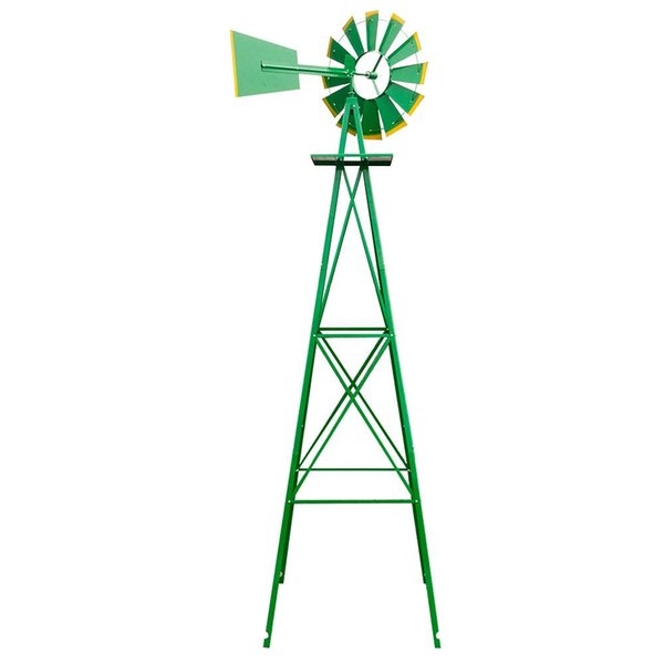 8FT Weather Resistant Yard Garden Windmill Green outdoor home lawn Wind Spinner Ornament Decoration US free shipping