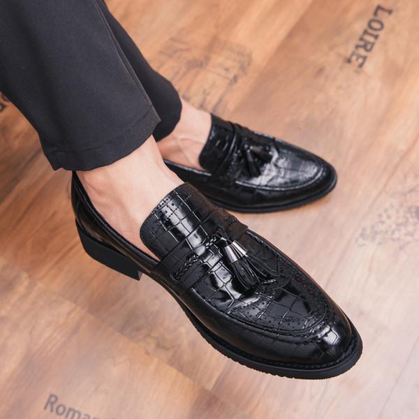 Zapatos de hombre Zapatillas de deporte de diseñador Mocasines Hecho a mano Negocio Cocodrilo Casual Piel antideslizante Pisos Borla Calzado 4
