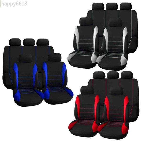 9 unids / set cubiertas del coche uitable para la mayoría de los automóviles de 5 asientos Universal Crossovers Sedanes Auto Interior Styling Decoración Protector