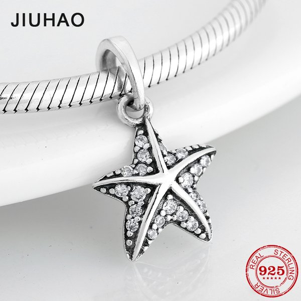 Sparkling Clear CZ Starfish 925 Sterling Silver fine Pendants Beads Fit Original Pandora Charm Bracelet Jewelry making