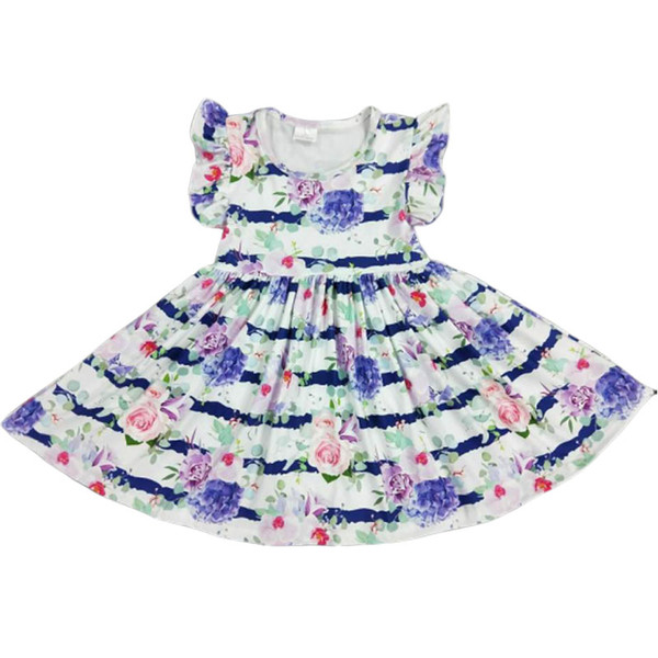 Ready To Ship Boutique Clothing Short Sleeve Baby Girl Dress Floral print milk silk fabric Kid clothes