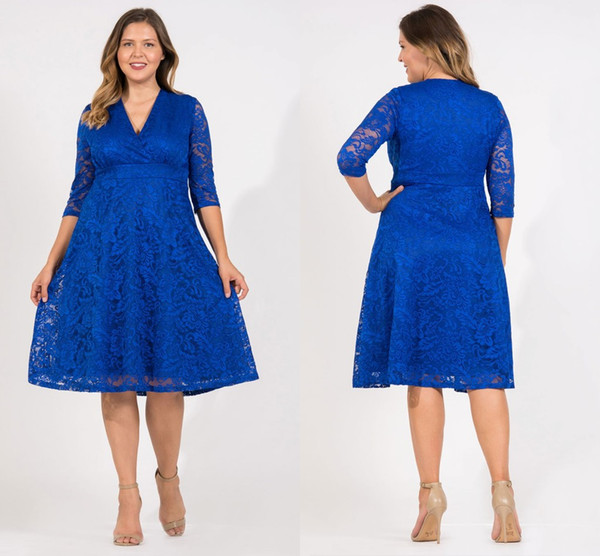 Royal Blue Plus Size Full Lace Mother Of The Bride Dresses Long Sleeves  Knee Length Two Pieces Mother Formal Party Evening Prom Gown Mother Of The  ...