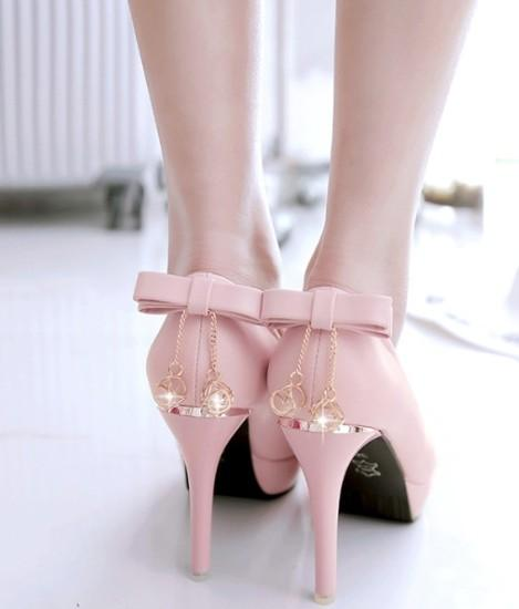 New Arrival Hot Sale Specials Super Fashion Influx Noble Sweety Pink Rhinestone Bow Platform Round Head Princess Single Heels Shoes EU32-43