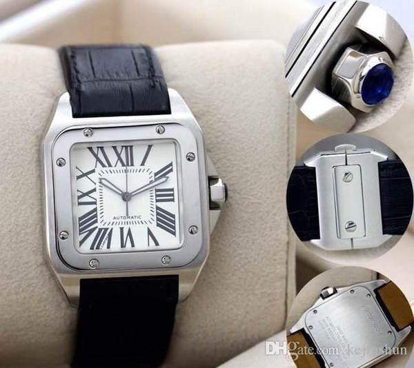 Отличный новый спорт высокое качество 100 XL черный Лучшие мужские автоматические механические часы мужская дата Спорт 40 мм Кожаный ремешок WristWa