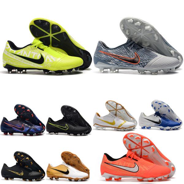 2019 top mens de qualité chaussures de football Phantom VNM Elite FG crampons de football en plein air chaussures de football en cuir à faible cheville scarpe da calcio blanc