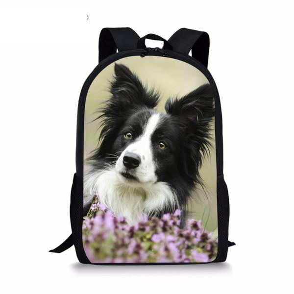Boder Collie Dog Printed Kids Girls Boys Cute Dog Black Backpack Bag Funny Puppy Kids Book Bag Men Travel Drop Shipping