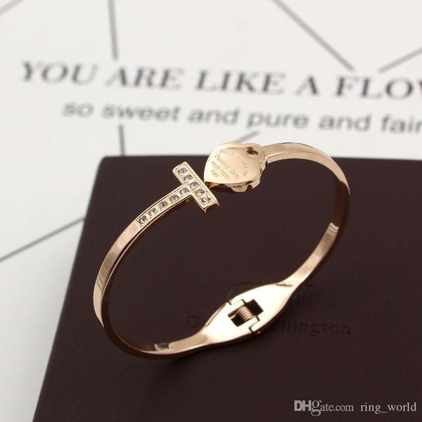 Hot Vendons-2019 Bracelet Coeur Couleur Argent Or Couleur Cristal Amour Ouverture Couleur du bracelet en cristal d'or Bracelets Bangles