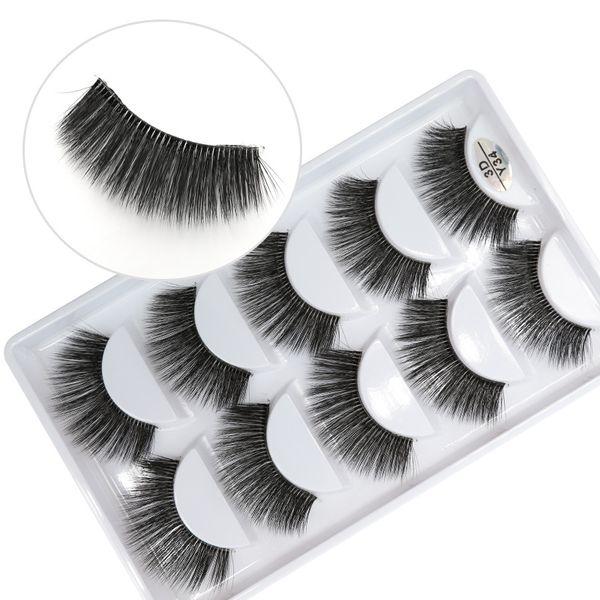 3D-Y34 5pairs/set Y series transparent terrier False EyeLashes 5 Pairs 3D Natural soft silk Eyelashes Handmade eyelashes.