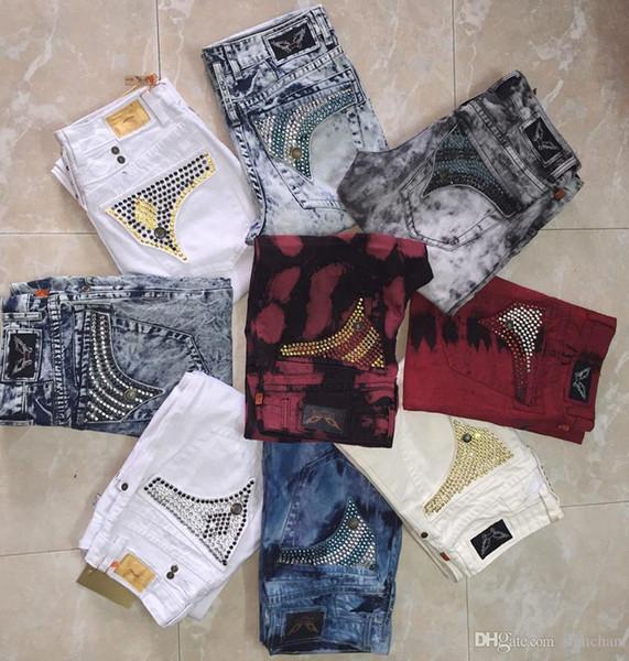 Бесплатная доставка Mens Robin Rock Revival Jeans Кристалл Шпильки Джинсовые брюки конструктора Брюки мужские размер 30-42 New