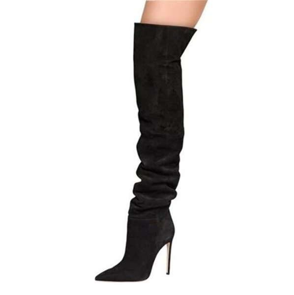 Sexy Black Suede Wide Calf Boots Plus Size 13 Winter Fall Over The Knee Thigh High Boots Women Slim Fit Banquet Dress Shoes
