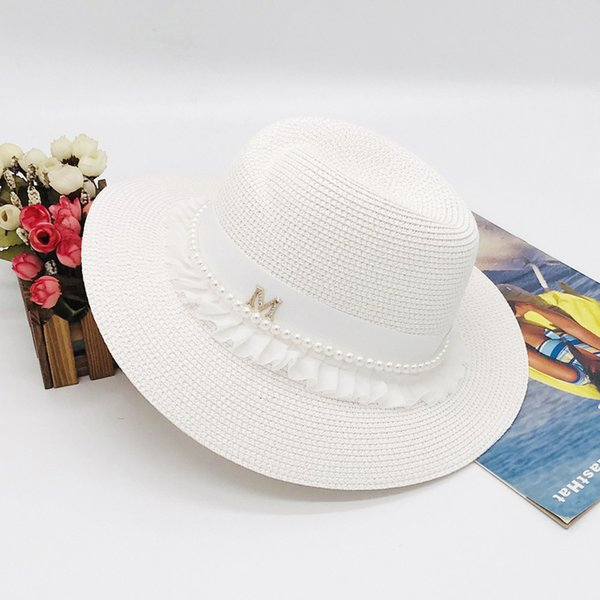 korean women's wide brimmed cap hat straw woven white lace pearl straw hat tourist straw hat fcmzb-131