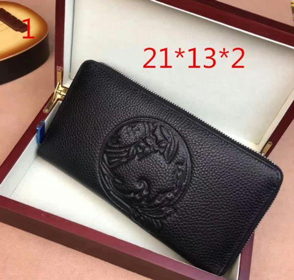 2009 New Medusa Fashion Leather Embossed Zipper Wallet Leisure Male Handbag Business Bag1-1