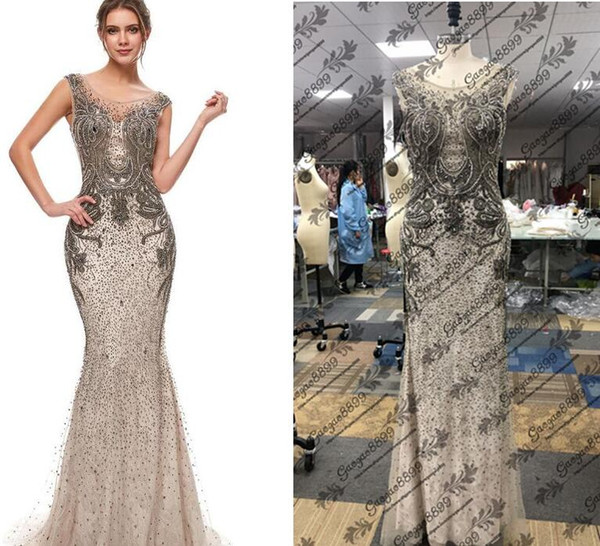 Great Gatsby Vintage Mocha Luxury Beaded Mermaid Evening Dresses Wear yousef aljasmi Sheer Neck Cap Sleeve arabic 2019 Prom Formal Gowns