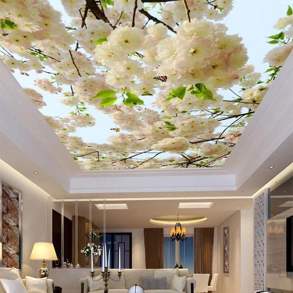 Personalizzato Grande 3D Stereo Fiori bianchi Foto Wallpaper Soffitto Murale Soggiorno Hotel non tessuto Soffitto Affresco Papel De Parede 3D