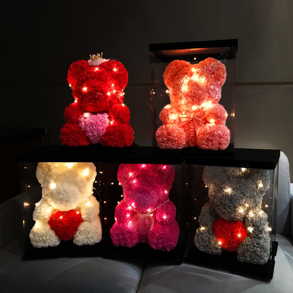 valentines day gift 25cm red rose teddy bear foam rose flower artificial decoration with 3m led lamps gift box valentines