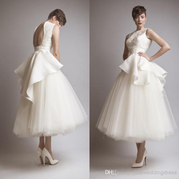 Diseño de moda Blanco Una línea Vestidos de fiesta cortos Sin respaldo Tul Apliques de encaje Vestidos de noche Vestidos de cóctel