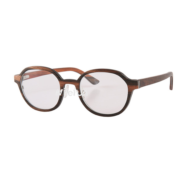 Nilerun brand vintage oval black layered wood aluminium metal frame optical eyeglasses strong durable wooden optical glasses