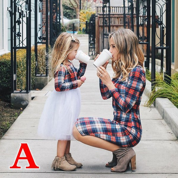 Mother Daughter Dresses Spring Autumn Matching Outfits Moms And Girls Clothes Long Sleeve Plaid Family Dress (Link for kids)