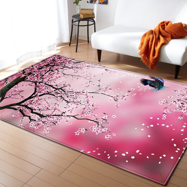 Nordic Carpets Soft Flannel 3D Cherry Blossoms Printed Area Rugs Parlor Mat Rugs Anti-slip Large Rug Carpet for Living Room