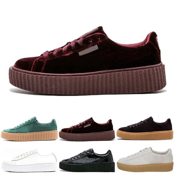 Luxury Fenty Creeper Rihanna Women Basket Platform Casual Shoes Velvet Cracked Leather Suede Mens Black White Red Green Casual Sneakers
